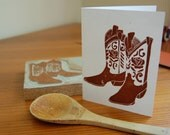 Cowboy boots linocut greeting card