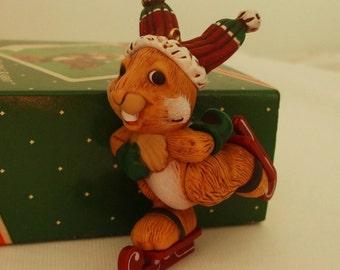 Vintage Hallmark SKATING BUNNY Christmas Tree Ornament 1988 MIB