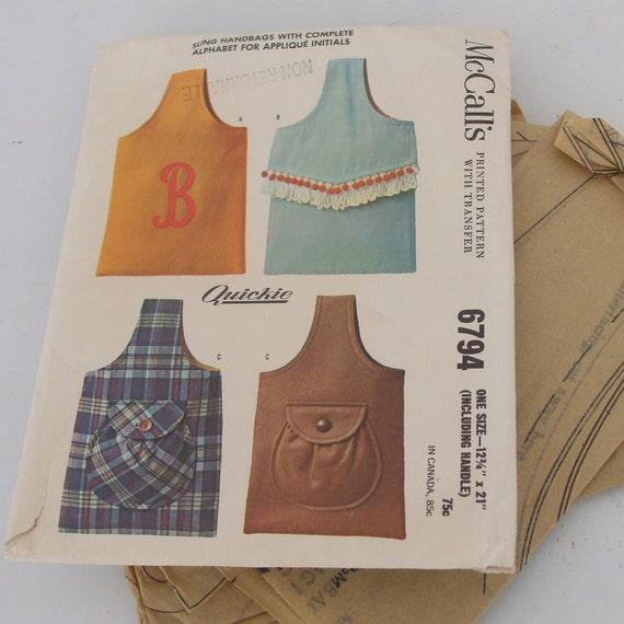 Vintage McCalls Sling Handbag Pattern with Alphabet Inital Appliques