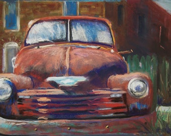 Old Chevy - Note Card - 5 x 7 inches from my original pastel painting