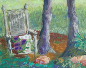 SALE!! Rockin Petunias - 9 x 12 original Plein Air pastel  painting, you pick the frame