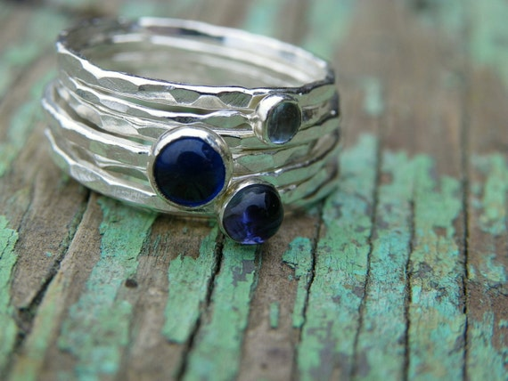 Aquamarine, Blue Spinel, and Iolite Fine Silver Stacking Rings