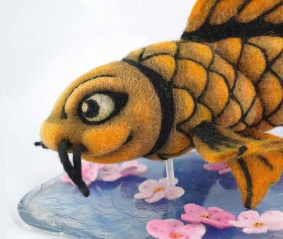 Items similar to ooak needle felted plush koi fish on etsy for Koi fish plush