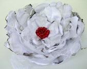 Wedding Hair Flower, White Satin Flower Accessory, Maternity Sash