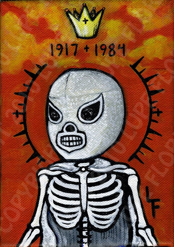 EL SANTO Lucha Libre day of the dead sugar by ArtByLupeFlores
