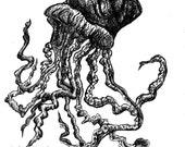 Jellyfish-Pen and Ink Original Drawing