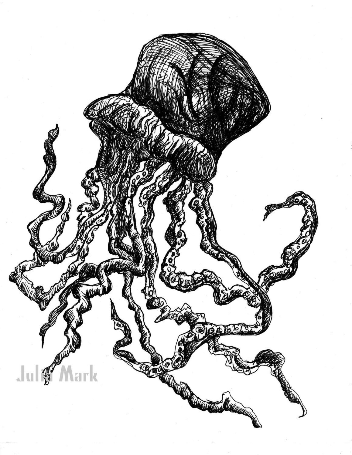 It's just a photo of Insane Jellyfish Ink Drawing