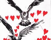 Valentines Day Art Linocut Romantic Gift Black Bird Wall Art and Home Decor Ravens with Hearts Linocut Print