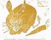 SALE Year of the Rabbit Linocut Postcard