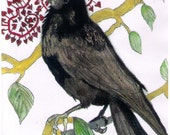 FINAL SALE Crow with Confetti Print from Watercolor Painting