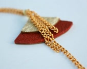 Handcut Leather Asian Fan Necklace - Burgundy Red & Gold with Gold Chain
