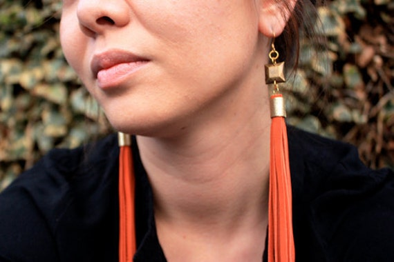 Tangerine Peel Orange Leather Tassel Fringe Earrings w/ Square Charm & Gold Plated Ear Wires
