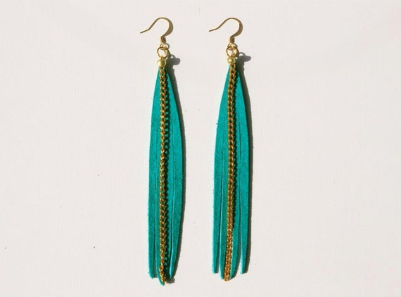 Vibrant Seaweed Teal Green Suede Fringe Earrings w/ Gold Chain Accents and Gold Plated Ear Wires