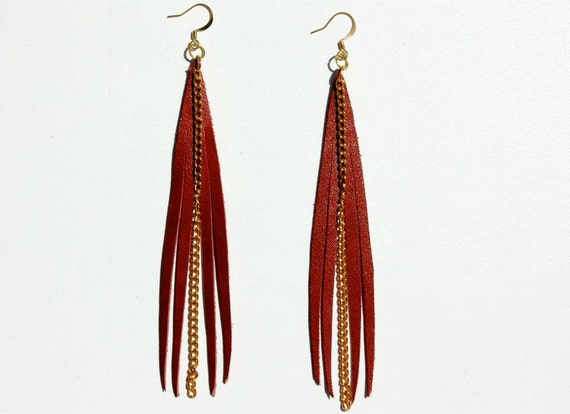 Rich Mahogany Leather Fringe Earrings w/ Gold Chain Accents and Gold Plated Ear Wires