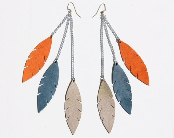 Orange, Blue, Taupe - Triple Feather Leather Feather Leaf Earrings on Silver Chains and Silver Plated Hooks