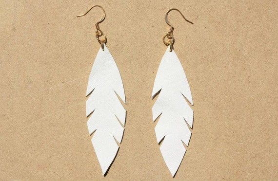 White Leather Leaf Feather Earrings with Gold Plated Wires
