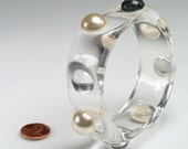 RESERVED 1960's Clear Lucite, Faux Pearl Bangle, HEXAGONAL exterior shape: **DARK cab color is an illusion due to background reflection