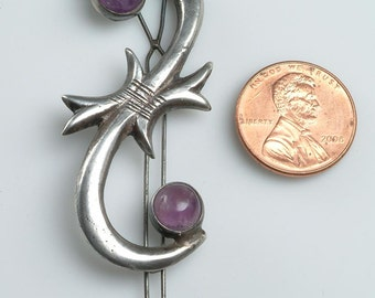 Free US shipping - Vintage Mexican Silver and Amethyst Hair Barrette 1950's-1960's:  Good, tight closure - simple, elegant design