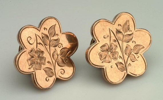 "RESERVED 19th century Cuff Links Cufflinks Cuff Buttons:  Victorian ""Gold Top"" - floral engravings"