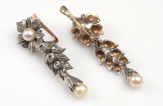 HOLD Edwardian Rose Diamond, Pearl Earrings Silver Vermeil