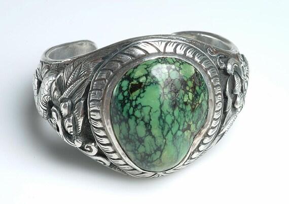 BOLD Vintage Ethnic Style Cuff Bracelet: Silver, Turquoise