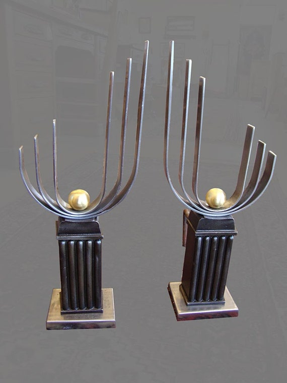 THE BEST Original Art Deco Fireplace ANDIRONS - Mixed metals: brass, polished steel, cast iron - complete, usable