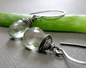 Last Ones - Palest Green Earrings - Celery Green Quartz and Oxidized Sterling Silver