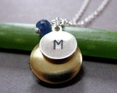 Birthstone Vintage Brass Locket and Personalized Pendant - Dedication Necklace