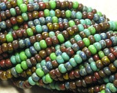 8/0 Opaque Old World Color Mixed Picasso Firepolished Czech Glass Seed Bead Strand