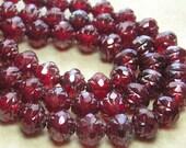 8mm Faceted Transparent Ruby Vega Firepolished Czech Glass Rosebud Beads