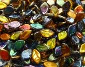 12x7mm Magic Topaz Czech Glass Leaf Beads