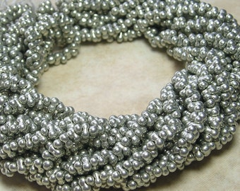 4x2mm Metallic Antique Silver Terra Color Fast Czech Glass Farfalle Seed Bead Strand (AW101)