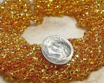 4x2mm Transparent Topaz Silver Lined Czech Glass Farfalle Seed Bead Strand (AW84)