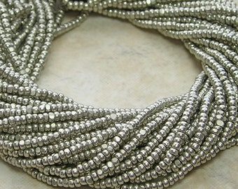 13/0 (1.7mm) Antique Silver Terra Color Fast Czech Glass Charlotte Seed Bead Hank (CS208)