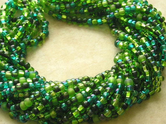 6/0 Emerald Isle Mega Mixed Czech Glass Seed Bead Strand (CW168)