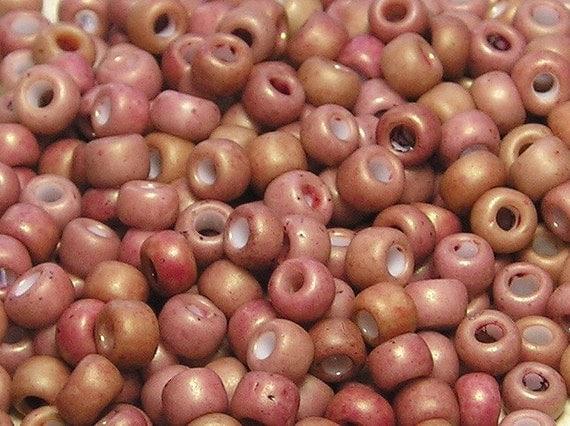 6/0 Vintage Antique Rose Japanese Ceramic Seed Beads 20 Grams (C364)
