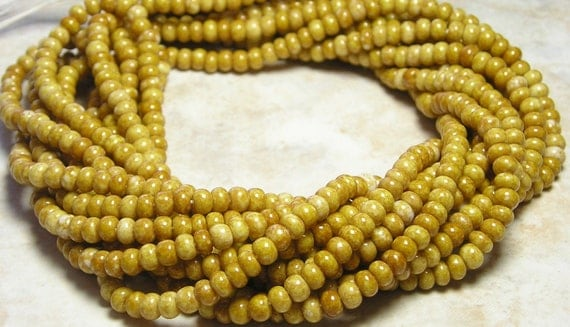 6/0 Opaque Sandstone Picasso Czech Glass Seed Bead Strand
