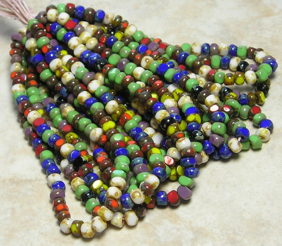 6/0 3 Cut Opaque Color Mixed Picasso Firepolished Czech Glass Seed Bead Hank