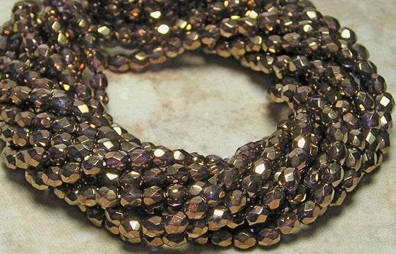 3mm Faceted Metallic Bronze Firepolished Czech Glass Beads