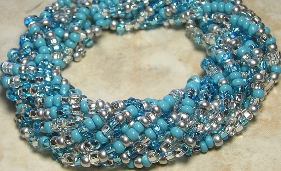6/0 Opaque Navajo Turquoise Mega Mix Czech Glass Seed Bead Strand (C290)
