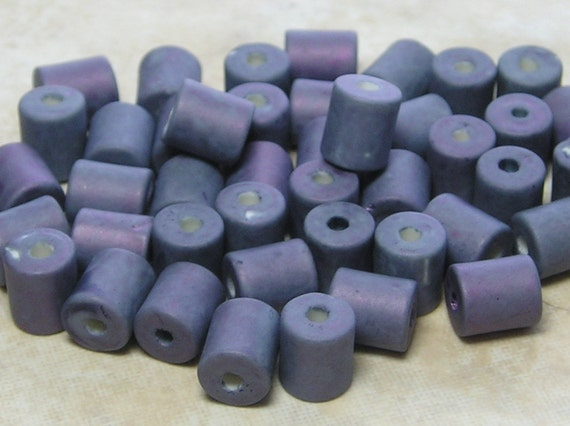LIMITED VINTAGE 7x6mm Blueberry Japanese Ceramic Cylinder Beads 20 Grams