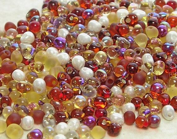 3.4mm Golden Grains Mix Miyuki Glass Teardrop Beads 10 Grams
