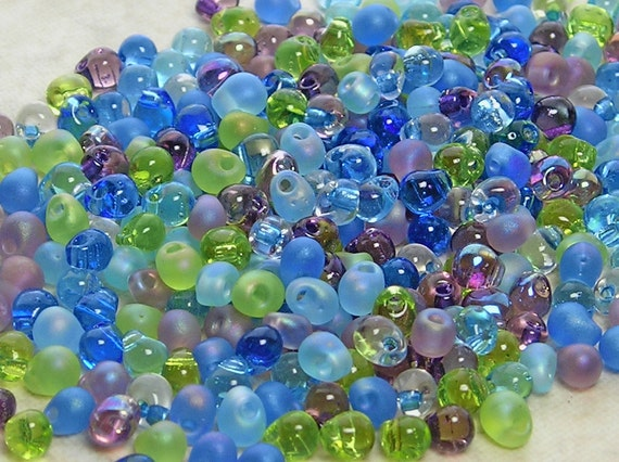 3.4mm Jeweltone Mix Miyuki Glass Teardrop Beads 10 Grams