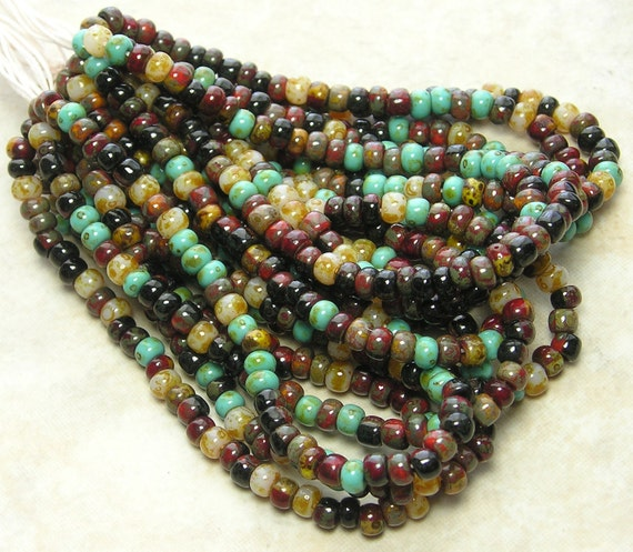 6/0 Opaque South Pacific Picasso Mix Firepolished Czech Glass Seed Beads 12 Strand Hank