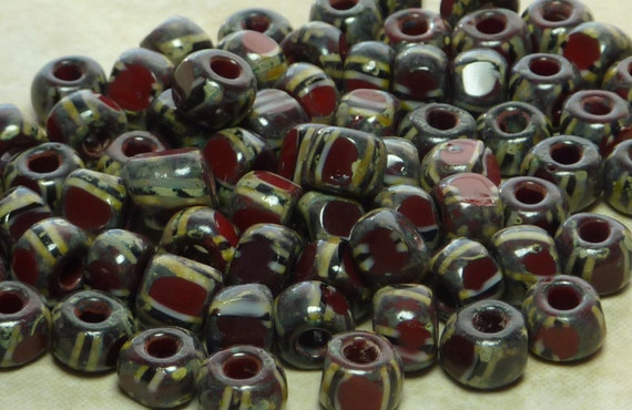 32/0 (7x5mm) 3 Cut Opaque Brown Black and White Striped Picasso Firepolished Czech Glass Seed Beads 10 Grams (C88)