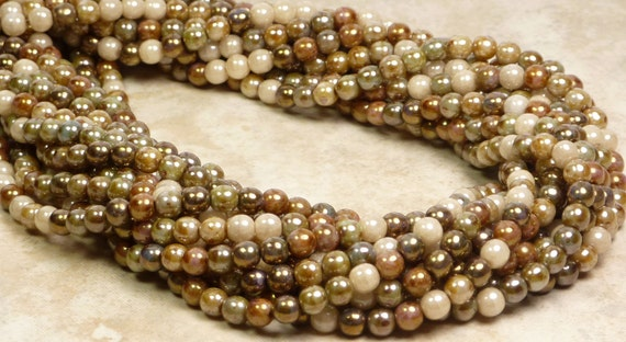 4mm Opaque Earth Tone Lumi Luster Mix Czech Glass Beads 16 Inch Strand - Qty 100 (A180)