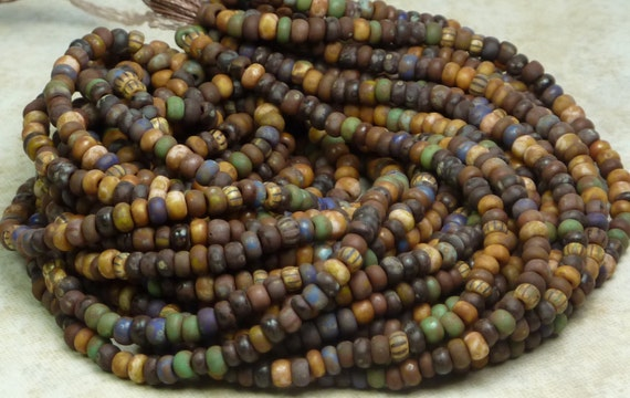 NEW 8/0 Matte Opaque Solids N Stripes Picasso Mix Czech Glass Seed Bead HALF Hank