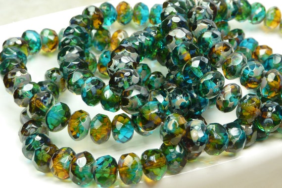 8x6mm Faceted Multitone Baltic Sea Picasso Firepolished Czech Glass Rondell Beads - Qty 25 (D155)