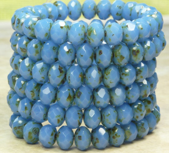 8x6mm Faceted Blue Opal Picasso Firepolished Czech Glass Rondell Beads - Qty 25