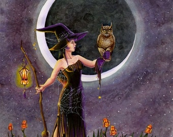 Fantasy Halloween Witch Art Print Hester and the Owl
